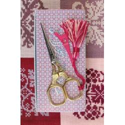"""Tijera de bordar modelo """"Tour Eiffel"""" dorada con Charm rosa. Sajou"""
