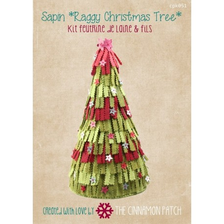 Raggy Christmas Tree. Kit: Gráfico, fieltro e hilos. The Cinnamon Patch