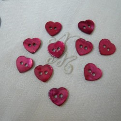 Botón corazón nácar rojo 6/u