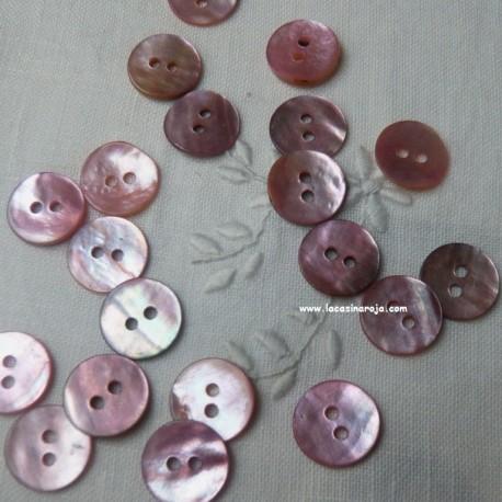 Botón de nácar circular rosa 11 mm - 6/u