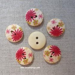 Botón de madera estampado 6 ud. Crisantemo rojo