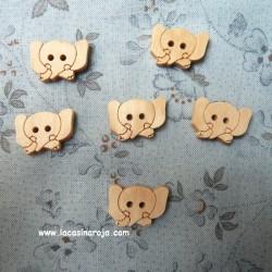 Botón de madera - Elefante 6 ud.
