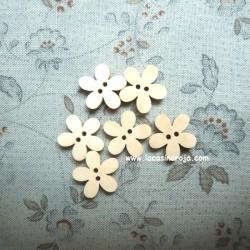 Botón de madera - Flor 6 ud.