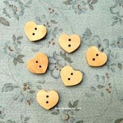 Botón de madera - Corazón 6 ud.
