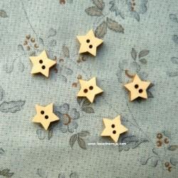 Botón de madera - Estrella 11 mm 6 ud.