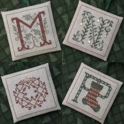 Alphabets Ornaments four (M, N, O and P) + abalorios. The Drawn Thread
