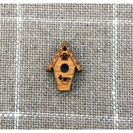 Botón de madera casita de pájaros flor- ADE
