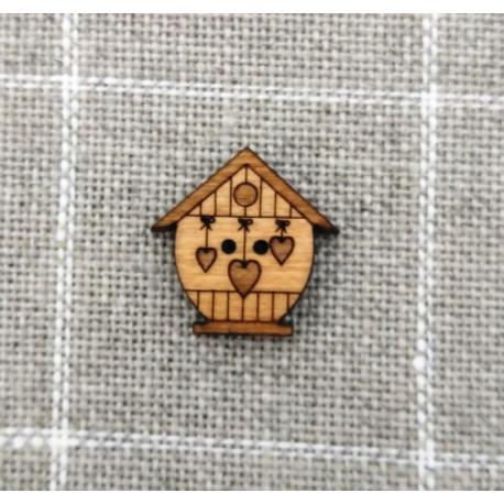 Botón de madera casita de pájaros corazones- ADE
