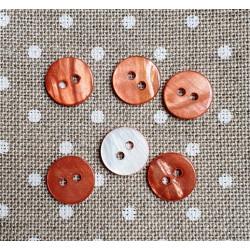 Botón de nácar circular marrón cobrizo 11mm - 6/u
