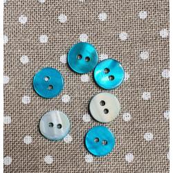 Botón de nácar circular azul 11 mm - 6/u